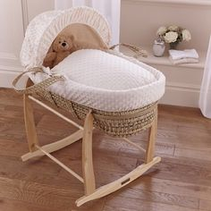 Wished for on nowWish.com - Clair de Lune Palm Moses Basket Dimple Cream from Clair de Lune part of the Moses Baskets range available at PreciousLittleOne