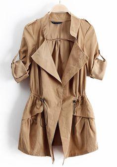 Khaki Drawstring Epaulet Notch Lapel Dacron Trench Coat