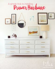 Pin this! 4 simple steps, to installing cabinet drawer hardware, the easy way!