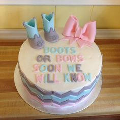 Pin for Later: 30 Gender-Reveal Cakes to Inspire Your Big Unveiling Boots or Bows? Source: Instagram user mjarvis11913
