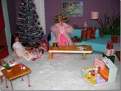 Play Barbie, Barbie And Ken, Barbie Stuff, Dollhouse Furniture Kits, Barbie Furniture, Christmas Scenes, Christmas Settings, Christmas Eve, Christmas Barbie