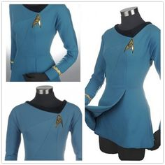 Star Trek Cosplay Female Duty Uniform Blue Dress Costumes