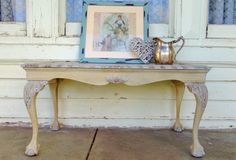 DIY PAINTED - Ball and claw foot shabby chic coffee table