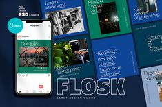 FLOSK - Instagram Branding Template for fashion brands, architecture, design, event agencies, cafes and resaurants, digital services, blogs and other products. Today Instagram is the biggest Sistema Visual, Event Agency, Branding Template, Brand Building, Social Media Template, Of Brand, Instagram Story, Free Instagram, Fashion Brands