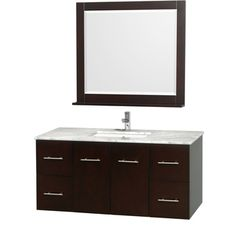 Wyndham Collection Centra Espresso 48-inch Single Carrera Marble Bathroom Vanity with Mirror - Overstock™ Shopping - Great Deals on Wyndham Collection Bath Vanities