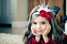 Holiday Red Headband  Red Flower Headband  by OhhSoSweetBowtique