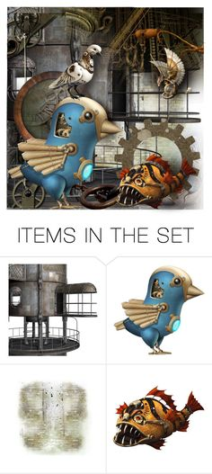 """""""Steampunk Pets"""" by jill-bh ❤ liked on Polyvore featuring art"""
