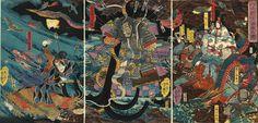 """Utagawa Yoshitsuya  """"The Underwater Battle"""""""