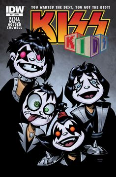 this subscription-variant cover isn't even a kid at all? But it *is* a great image by animation whiz Bruce Timm, anyway! Who can resist that? And inside the comic, the same kid-friendly content as the regular issue. Banda Kiss, Comic Book Covers, Comic Books, Kiss Group, Kiss World, Kiss Rock Bands, Japanese Superheroes, Rock Poster, Kiss Art