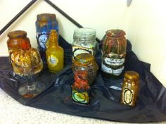 Halloween spooky bottles and labels - food,, food colouring, wax and water - great fun and super effective don't you think! Food Coloring, Colouring, Swamp Water, Flesh Eating, Porridge Oats, Altered Bottles, Homemade Halloween, Cyclops, Venom