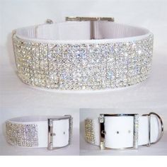 """A stunning white collar for large dogs adorned with a rich velvet and clear Swarovski Crystals that sparkle like diamonds! Fabulous for a wedding, special event or make every day special with this gorgeous big """"bling"""" collar. #bigdogs #greyhounds"""