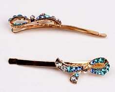 Fashion Rhinestone Hairclips, Golden plated, Alloy with blue rhinestones, Size around 63*14*10mm, Used for decorating your hair, Practical and elegant, You will love the sparkling image and fashion, Sold per unit,1 pair per unit.