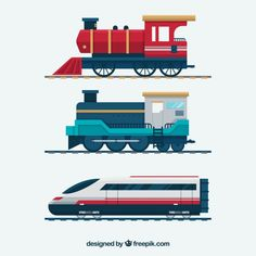 Set of modern railway transport: locomotives, speed passengers trains, wagons. Railroad transportation and cargo carriage coal. Logistics industry vector illustration in flat style, isolated on white , Art Deco Design, Icon Design, Train Cartoon, Transport Images, Train Vector, Train Illustration, Retro Cartoons, Flat Design, Trains