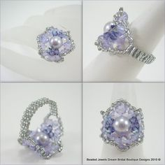 Beaded Bridemaids Rings made to custom in your Wedding theme Colors