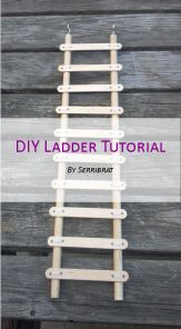 This simple tutorial will teach you how to build a ladder for a pet rat cage. Fair warning – pet rats love to chew wood, so depending on the temperament of your rats, this ladder may not las… Rat Cage Diy, Pet Rat Cages, Diy Bird Cage, Diy Rat Toys, Diy Bird Toys, Diy Budgie Toys, Diy Chinchilla Toys, Diy Rodent Toys, Diy Hamster Toys