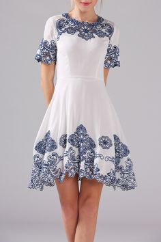 Embroidered Vintage Dress