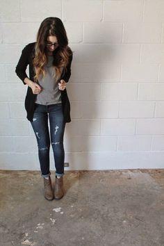 Cardigan: Target (old) // similarStiped Pocket Tee: Clad & ClothJeans: American Eagle (old) //...