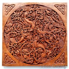 Celtic Wood carving, Handmade Woodcarving, Plate 14 from The Book of Kells, 15,7…
