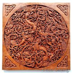 Celte sculpture du bois, sculpture sur bois à la main, plaque 14 de The Book of Kells, 15,7 x 15,7 dans