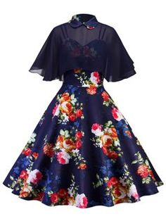 Shop Floral Print Cami Dress With Sheer Top online. SHEIN offers Floral Print Cami Dress With Sheer Top & more to fit your fashionable needs. Dress With Shawl, Cape Dress, Dress Up, Babydoll Dress, Pretty Outfits, Pretty Dresses, Beautiful Dresses, Elegant Dresses, Formal Dresses