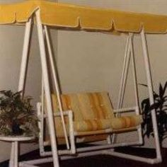 Patio swing from PVC -- Wow, I might do this! Free plans and pictures of PVC pipe projects. Pvc Pipe Crafts, Pvc Pipe Projects, Diy Projects To Try, Garden Projects, Lathe Projects, Project Ideas, Garden Ideas, Pvc Pipe Furniture, Plastic Garden Furniture