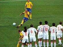 Sweden 0 Holland 0 (4-5 p) in 2004 in Faro. Henrik Larsson was only inches wide with this free-kick in the Quarter Final of Euro 2004.