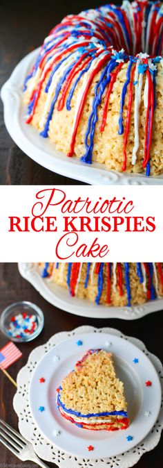 Patritotic Rice Krispies Cake! It's a great dessert for all ages, but especially the kiddos. Get the recipe on http://MomLovesBaking.com