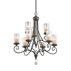 Kichler Lighting 42863SWZ 9 Light Laurel Chandelier, Shadow Bronze by Kichler. Save 22 Off!. $798.00. From the Manufacturer                Finish: Shadow Bronze, Glass: Clear, Light Bulb:(9)60w B10 Cand C Incand Laurel 2-tier 9-light chandelier. Etched Beige glass drip candles. Cut and crystal ball accents.                                    Product Description                Illuminate your space with this chandelier from Kichler's Lara Collection that's the epitome of understated...