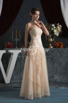 hmmmm | Champagne A Line Strapless Floor Length Tulle Wedding Dress