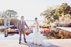 Lakeside Garden wedding at the Dallas Arboretum during glass art festival. Gorgeous!