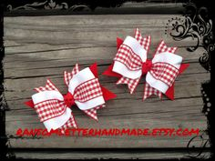 Small Red Gingham Hair Bows Red and White by ransomletterhandmade Small Red Gingham Hair Bows Red and White Gingham Dresses Baby Bows Red Checked Ribbon