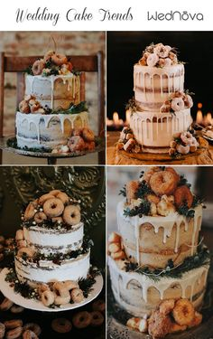 The integration of the donuts is elegant and still sort of whimsical and fun. - Chris unique wedding cakes 2019 Wedding Cake Trends to Inspire Your Big Day Donut Wedding Cake, Wedding Donuts, Wedding Cake Rustic, Unique Wedding Cakes, Wedding Cake Designs, Unique Weddings, Funny Wedding Cakes, Krispy Kreme Wedding Cake, Autumn Wedding Cakes