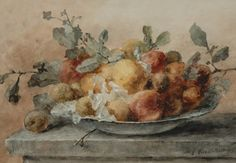 Roosenboom Margaretha. A still life with fruit and twigs on a plate