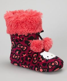 Hello Kitty meets hello comfort in these oh-so cozy slippers. A fun leopard print and playful pom-poms adorn the boot, keeping cuddling up fun and toasty-warm.Polyester uppersPolyester liningPolyester and manmade soleMachine washImported Hello Kitty Clothes, Hello Kitty Items, Hello Kitty House, Hello Kitten, Girls Slip, Hello Kitty Collection, Tiny Dolls, Cat Party, Slipper Boots