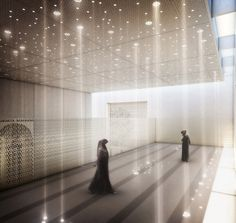 Female prayer room - Inspiration for Mosque at University Campus in Middle East by SI Architects Mosque Architecture, Religious Architecture, Space Architecture, The Plan, Auer Weber, Prayer Room, Meditation Space, Ceiling Design, Lighting Design
