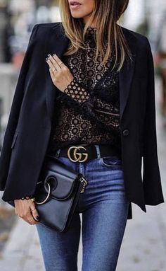 Spring outfits, winter outfits, blogger outfits, Girls night out outfit, date night outfit, black lace top, black blazer, gucci belt
