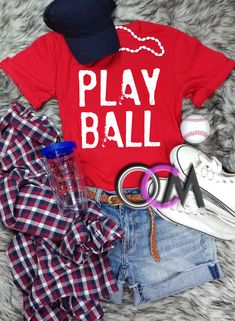 Play Ball T-Shirt, Baseball Shirt, Game Day T-shirt, Play Ball Baseball Shirt, Ladies Baseball Shirts - Tshirt - One Crafty Momma Baseball Mom Shirts, Baseball Tickets, Baseball Stuff, Mama Shirt, T Shirt, Pineapple Shirt, Sports Graphics, Vacation Shirts, Spring Shirts