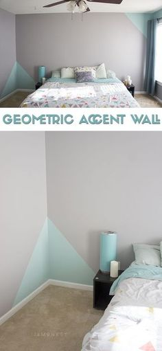 Geometric Accent Wall Geometrische Akzentwand The post Geometrische Akzentwand & Eigenheim appeared first on Geometric paint . Accent Wall Bedroom, Bedroom Decor, Tile Bedroom, Bedroom Storage, Bedroom Ideas, Wall Decor, Geometric Wall Paint, New Room, Girl Room