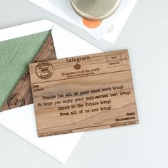 Personalised Retirement Telegram | Create Gift Love £12  This unique personalised wood telegram is a great alternative to the traditional one and makes for a wonderful keepsake.  http://www.creategiftlove.co.uk/collections/personalised-retirement-gifts/products/personalised-wood-telegram-retirement  #retirementgifts #personalised #creategiftlove