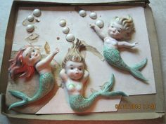 VIntage Norcrest Mermaid Bathroom Wall Plaques with Bubbles