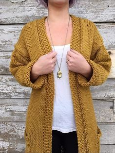 Ravelry: All Day Cardigan pattern by Knitatude / Chantal Miyagishima Knitting Kits, Loom Knitting, Oversized Knit Cardigan, Knit Cardigan Pattern, Knit Basket, Learn How To Knit, Knitted Coat, Lion Brand Yarn, Breien