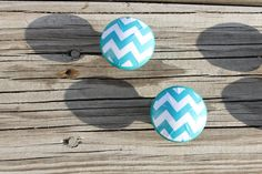 Aqua Blue Chevron  1.5 Dresser Drawer Knob by ReadinginRags, $3.75