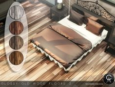 Glossy Old Wood Floors 2 - The Sims 4 Catalog Sims 4 Beds, Sims 4 House Building, Sims 4 Bedroom, Old Wood Floors, Casas The Sims 4, Best Sims, Sims 4 Cc Furniture, Sims 4 Build, Sims 4 Game