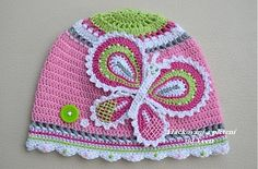 crochet hat with a butterfly applique