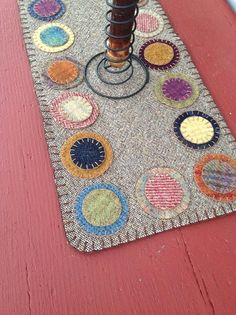 Wool penny rug wool table runner by granniesraggedybags on Etsy