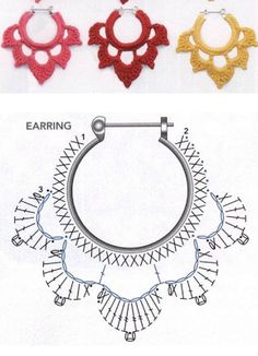 alice brans posted Crochet diagram to make earrings, Spanish site to their -crochet ideas and tips- postboard via the Juxtapost bookmarklet. diagram for crochet earings! more diagrams on site :) … Divinos aros tejidos al crochet. Risultati immagini per Crochet Diagram, Crochet Motif, Diy Crochet, Crochet Crafts, Crochet Flowers, Crochet Projects, Crochet Round, Crochet Collar, Doilies Crochet