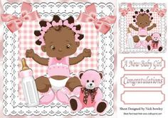 Ethnic baby girl with her teddy and bottle 8x8 on Craftsuprint - Add To Basket!