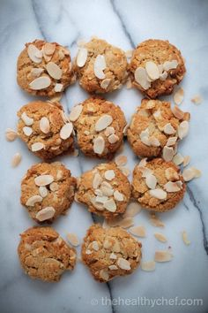 vegan, paleo ANZAC biscuits (substitute the honey for rice malt syrup) Gluten Free Anzac Biscuits, Healthy Anzac Biscuits, Paleo Biscuits, Almond Recipes, Paleo Recipes, Sweet Recipes, Real Food Recipes, Food Tips, Easy Recipes
