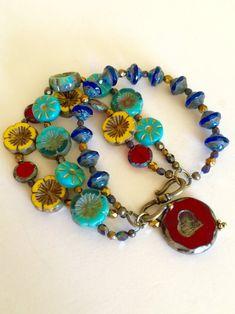 Diy Jewelry, Beaded Jewelry, Handmade Jewelry, Beaded Necklace, Glass Jewelry, Flower Bracelet, Turquoise Beads, Czech Glass Beads, Bead Art