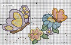 Risco de borboletas para bordado em ponto cruz - Pano de prato e pegador de panela ~ VillarteDesign Artesanato